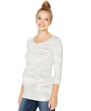 Motherhood Maternity Ruched Three-Quarter-Sleeve Top plus size,  plus size fashion plus size appare