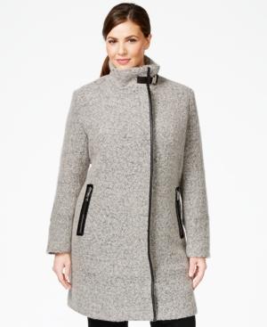 Calvin Klein Plus Size Faux-Leather-Trim Buckled Walker Coat
