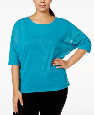 Jessica Simpson The Warm Up Plus Size Mesh Active Top, Only at Macy's