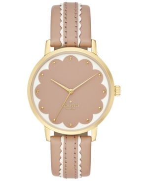 kate spade new york Women's Metro Scallop Vachetta & White Leather Strap Watch 34mm KSW1002