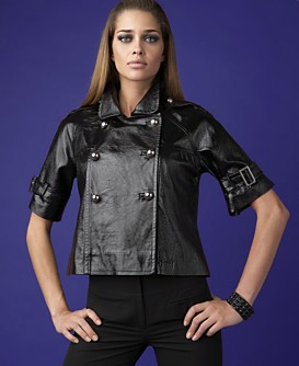 INC International Concepts® Woman Cropped Double-Breasted Patent-Leather Jacket