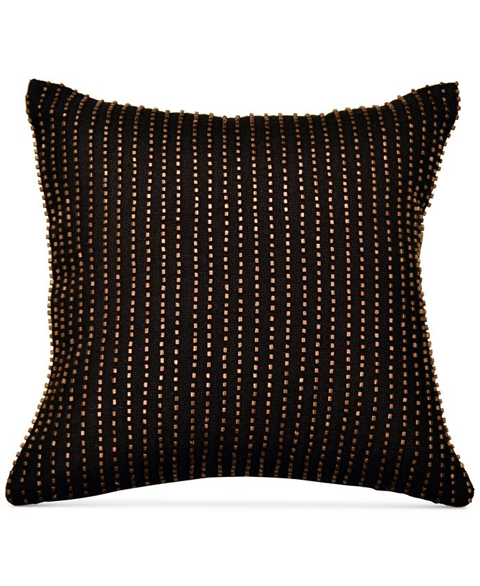 "Donna Karan - Home Reflection Ebony 12"" Square Metallic Beaded Decorative Pillow"