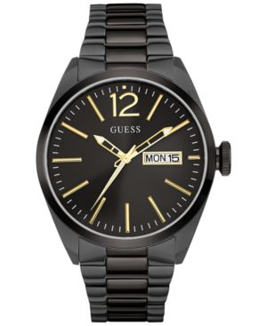 Guess Men's Black Ion-Plated Stainless Steel Bracelet 44mm U0657G2