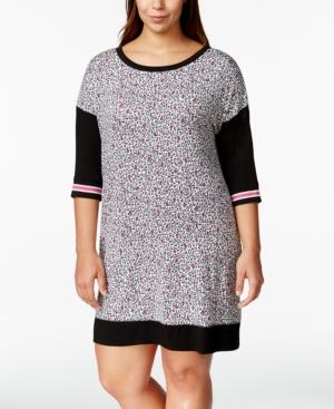 Dkny Plus Size Mixed-Print Sleepshirt