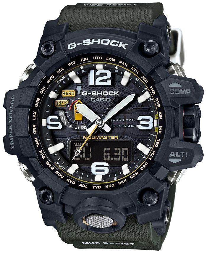 G-Shock - Men's Analog-Digital Mudmaster Green Bracelet Watch 56x59mm GWG1000-1A3