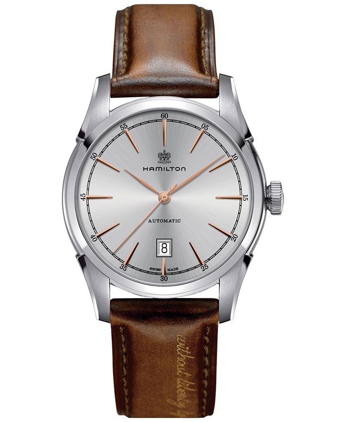 Hamilton - Men's Swiss Automatic Spirit of Liberty Brown Calf Leather Strap Watch 42mm H42415551