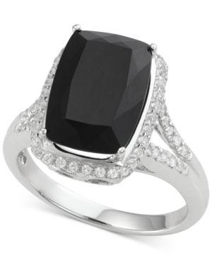 Onyx (4 ct. t.w.) and White Topaz (1/2 ct. t.w.) Ring in 14k White Gold thumbnail
