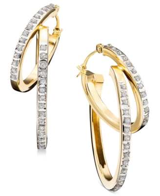 14k Gold Diamond Accent Double Hoop Earrings