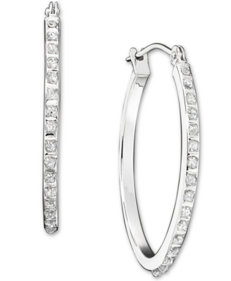 14k White Gold Pavé Diamond Accent Hoop Earrings