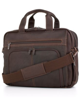 Kenneth Cole Reaction Columbian Leather Expandable Double Gusset Laptop Brief