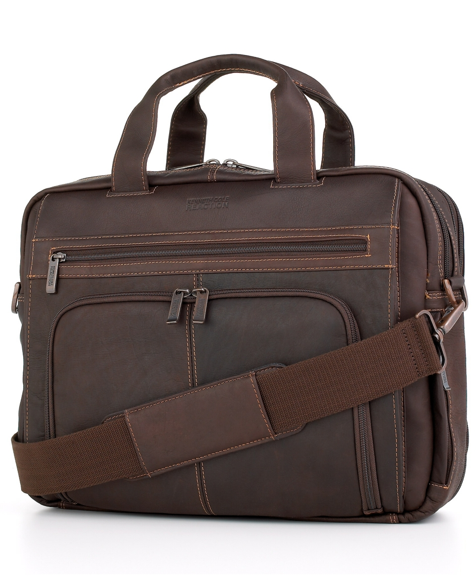 Kenneth Cole Reaction Colombian Leather Expandable Double Gusset Laptop Brief   Business & Laptop Bags   luggage