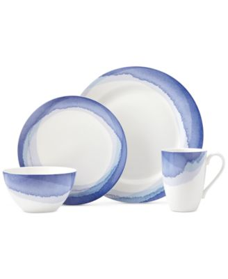 Lenox Indigo Watercolor Stripe Porcelain 4-Pc. Place Setting, A Macy's Exclusive Style