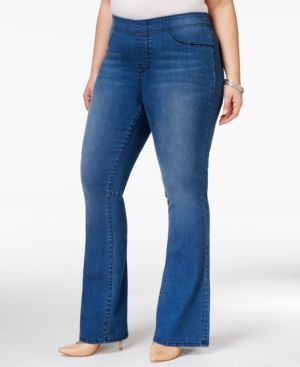 Nanette by Nanette Lepore Plus Size Hampton Pull-On Flared Sunset Wash Jeans