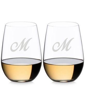 O Monogram Collection 2-Pc. Script Letter Riesling/Sauvignon Blanc Stemless Wine Glasses