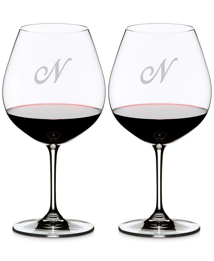 Riedel - Vinum Monogram Collection Crystal 2-Pc. Script N Pinot Noir Wine Glasses
