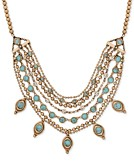 Lucky Brand Gold-Tone Turquoise-Look Stone Layered Collar Necklace