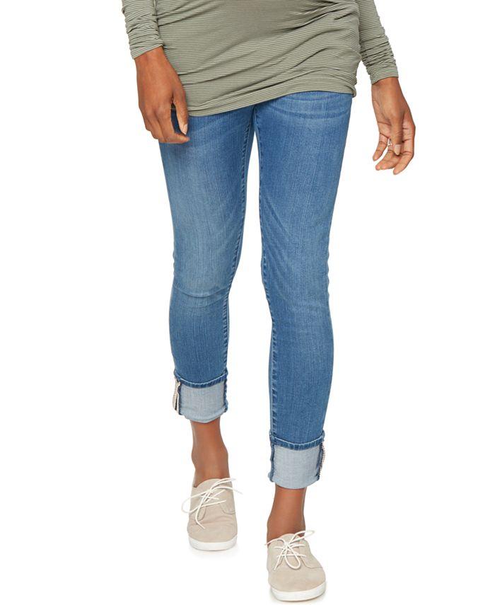 BLANK NYC - Maternity Ripped Cuffed Skinny Jeans, Medium Blue Wash