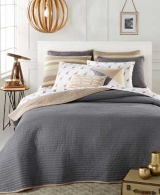 Whim by Martha Stewart Collection Turnabout Storm Cloud King Quilt, Only at Macy's