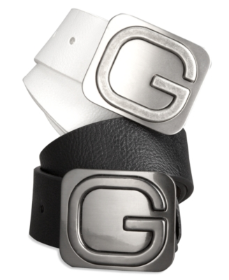 GUESS Logo Plaque Leather Belt