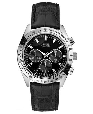 guess s waterpro chronograph leather 41mm