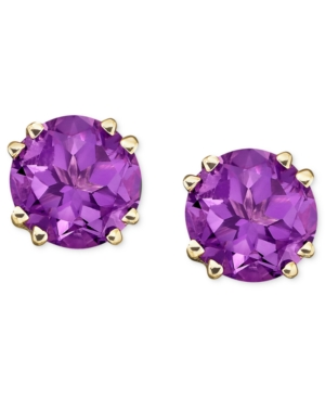 14k Gold Amethyst Stud Earrings (3-1/2 ct. t.w.)