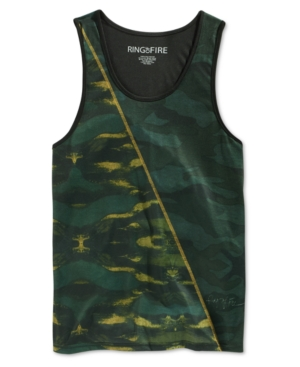 Ring of Fire Men's Green Camouflage-Print Tank, Only at Macy's