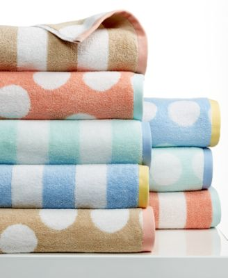 "Martha Stewart Collection Stripe Jacquard and Dot Jacquard 15"" x 28"" Hand Towel, Only at Macy's"