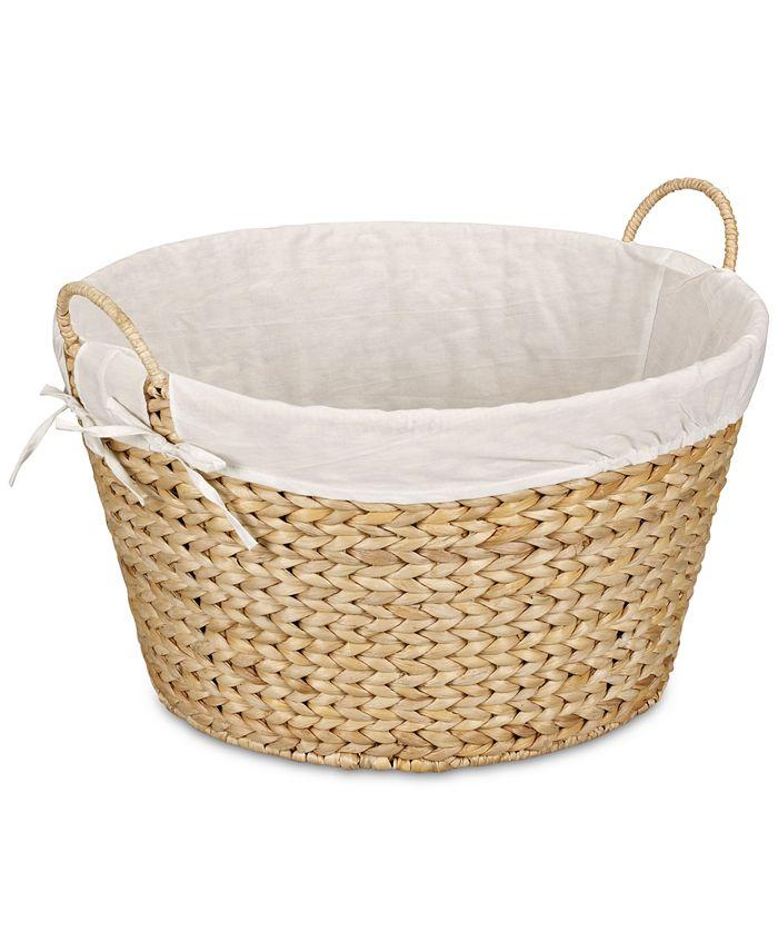 Household Essentials - Banana Leaf Wicker Round Laundry Basket