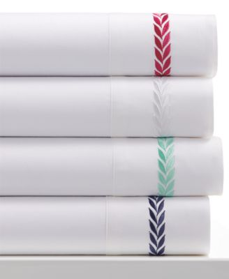 Westport 300 Thread Count Egyptian Cotton Leaf Embroidery Queen Sheet Set