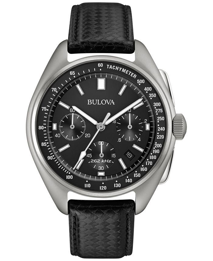 Bulova - Men's Special Edition Lunar Pilot Chronograph Black Leather Strap & Nylon Strap Watch 45mm 96B251