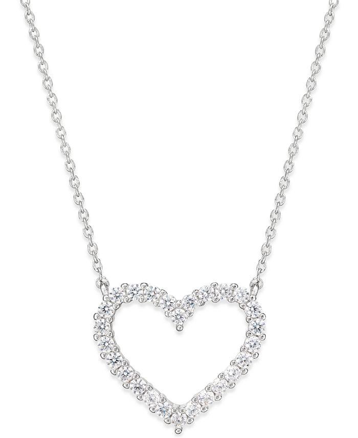 Giani Bernini - Cubic Zirconia Heart Pendant Necklace in Sterling Silver