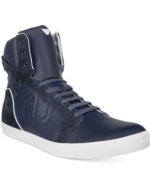 Armani Jeans Men's Perforated Hi-Top Sneaker Men's Shoes