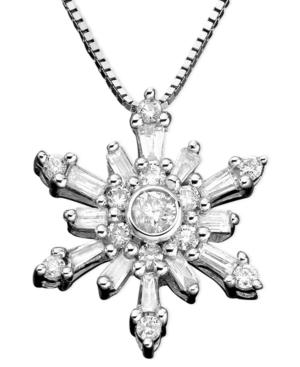 Diamond Necklace, 14k White Gold Snowflake Diamond (3/8 ct. t.w.)