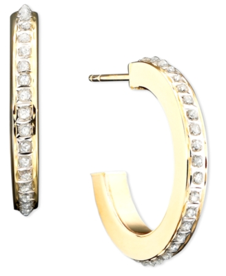 14k Gold Diamond-Accented Demi-Hoop Earrings