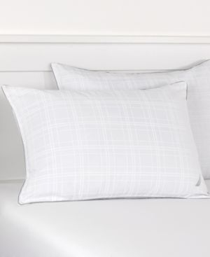 Nautica Plaid Silver Cord Standard Pillow Bedding