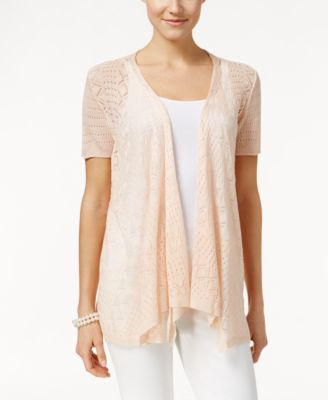 Image of Style & Co. Pointelle-Knit Open-Front Cardigan, Only at Macy's