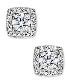 Eliot Danori Silver-Tone Multi-Crystal Square Stud Earrings, Created for Macy's