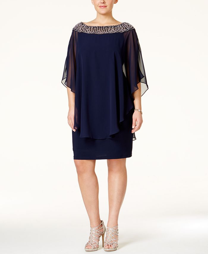 XSCAPE - Plus Size Beaded Chiffon Capelet Dress