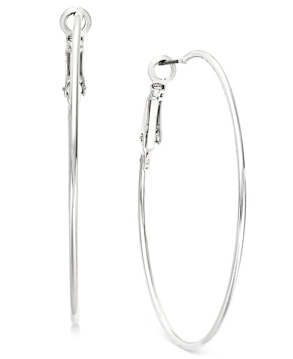 INC International Concepts INC Silver-Tone Slim Hoop Earrings, Created for Macy's