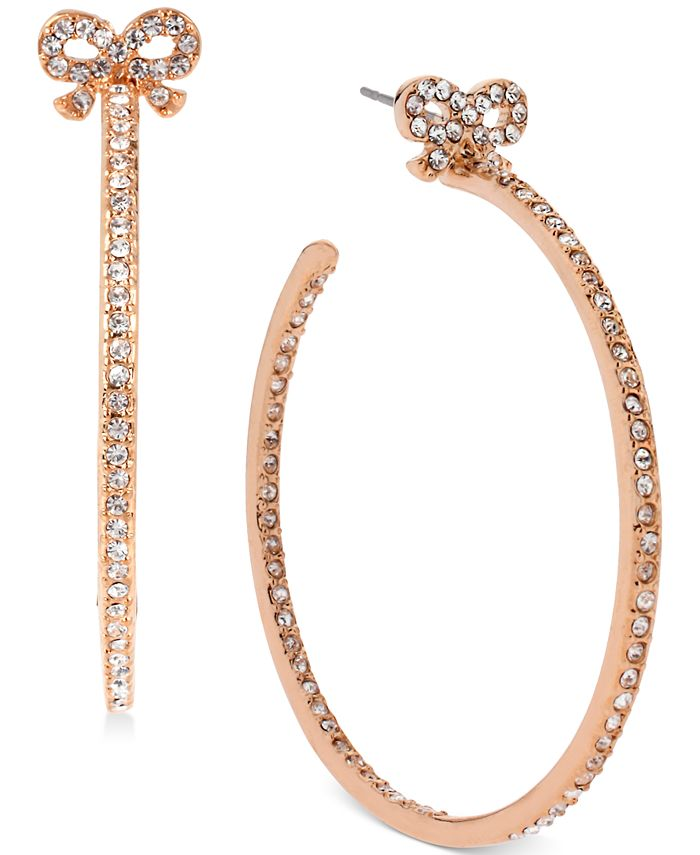 Betsey Johnson - Rose Gold-Tone Crystal Bow Hoop Earrings