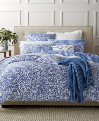 Charter Club Damask Designs Paisley Denim King Comforter Set, Only at Macy's