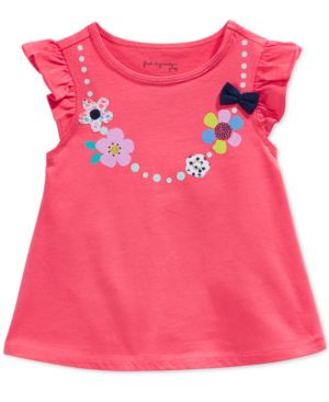 First Impressions Baby Girls' Necklace-Graphic Flutter-Sleeve T-Shirt, Only at Macy's