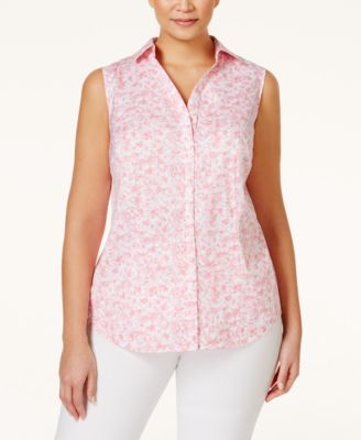 Charter Club Plus Size Printed Sleeveless Shirt Only at Macys