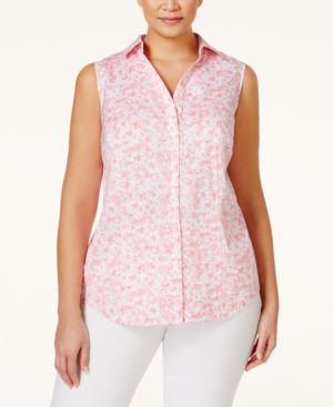 Charter Club Plus Size Printed Sleeveless Shirt, Only at Macy's
