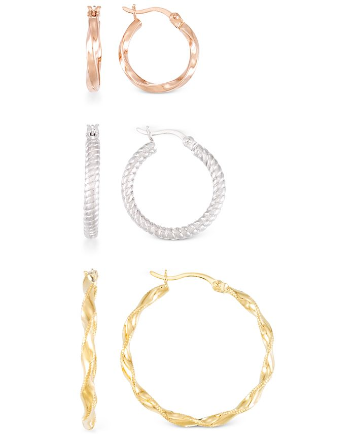 Macy's - Textured Round Hoop Earrings in 14k Rose, White & Yellow Gold Over Sterling Silver