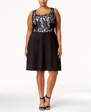 Trixxi Trendy Plus Size Colorblocked Open-Back Lace Dress