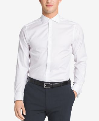 Calvin Klein STEEL Mens Slim-Fit Non-Iron Performance Solid French Cuff Dress Shirt