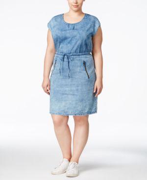 Junarose Plus Size Stonewash Chambray Shirtdress