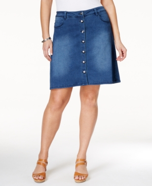 Nanette by Nanette Lepore Plus Size Denim Button-Front A-Line Skirt,  Only at Macy's plus size,  plus size fashion plus size appare