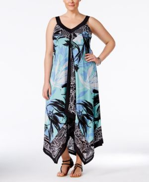 Style & Co. Plus Size Mixed-Print Handkerchief-Hem Maxi Dress, Only at Macy's